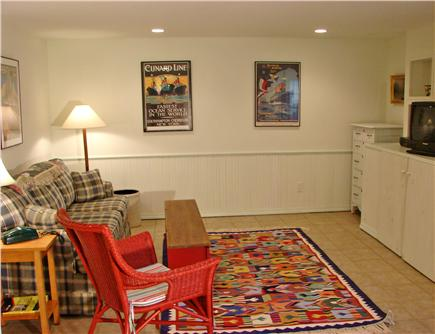 Chilmark Martha's Vineyard vacation rental - Downstairs rec room with TV,  DVD & sofa bed – perfect for kids!