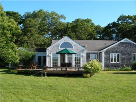West Tisbury Martha's Vineyard vacation rental - Rear of home with deck overlooking meadow.