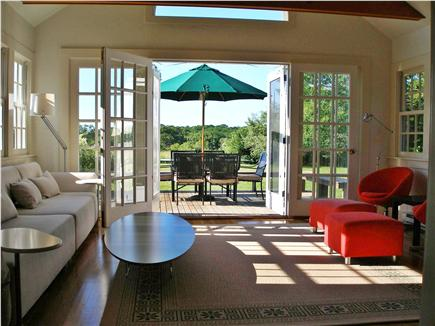 West Tisbury Martha's Vineyard vacation rental - Sunroom toward French Doors, rear deck and meadow.