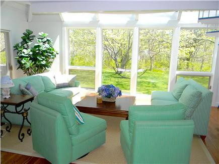Katama - Edgartown, Edgartown Martha's Vineyard vacation rental - Bright living room with cathedral ceiling and new furniture