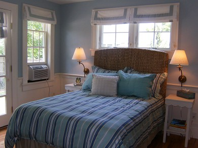 In Town Edgartown Martha's Vineyard vacation rental - 1st Floor Bedroom with access to Slate Patio & Air Conditioner