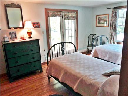 Chilmark Martha's Vineyard vacation rental - Guest bedroom #2 at lower level with French door to outside