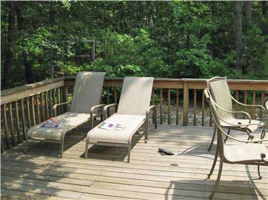 Vineyard Haven Martha's Vineyard vacation rental - Large deck with lounge chairs is shaded for afternoon reading