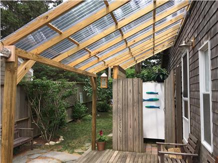 Oak Bluffs Martha's Vineyard vacation rental - Outdoor shower & porch, roof lets sunshine in but no raindrops.