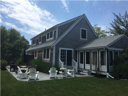 Oak Bluffs Martha's Vineyard vacation rental - Slate patio with gas grill and outdoor shower.