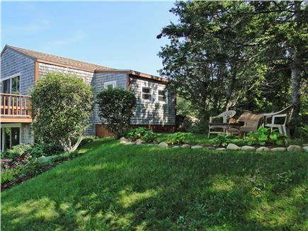 Oak Bluffs, Lagoon Pond Martha's Vineyard vacation rental - Lovely sloping yard with sitting area, panoramic views