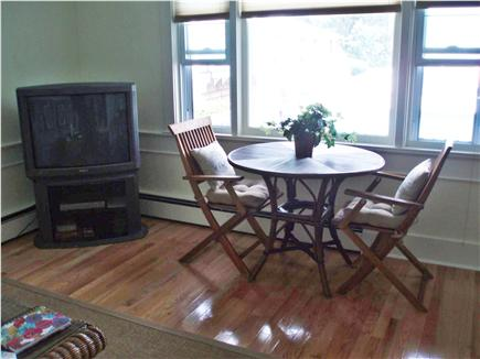 Vineyard Haven Martha's Vineyard vacation rental - Table and chairs in living room overlooking pool