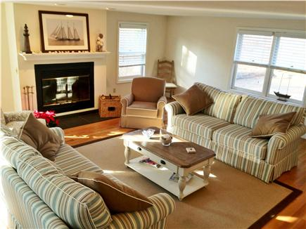 Edgartown Martha's Vineyard vacation rental - Sunny open living room with fireplace