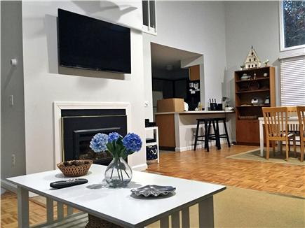 Katama - Edgartown, Edgartown (Katama) Martha's Vineyard vacation rental - Living room with vaulted ceilings, fireplace and LED TV