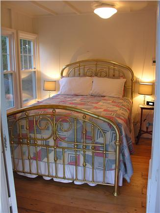 Oak Bluffs Martha's Vineyard vacation rental - Main Floor Bedroom queen brass bed and French doors to porch