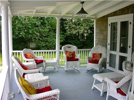 Oak Bluffs Martha's Vineyard vacation rental - Front porch with antique wicker.