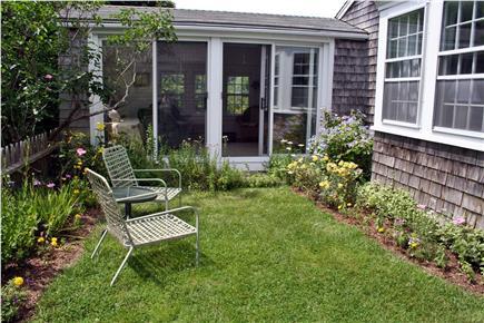 Edgartown Village Martha's Vineyard vacation rental - Flower garden with sliders looking into sunporch