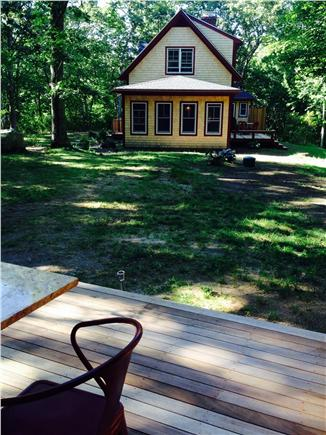 West Tisbury Martha's Vineyard vacation rental - View of main house from carriage house deck