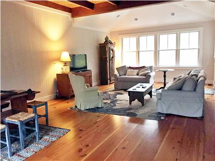 West Tisbury Martha's Vineyard vacation rental - Living room main house. Down-filled couches. Historic pine floors