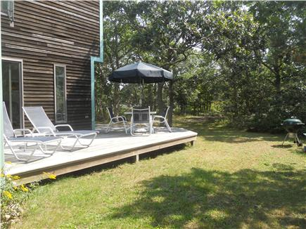 West Tisbury Martha's Vineyard vacation rental - The back deck is sunny and surrounded by the oak forest