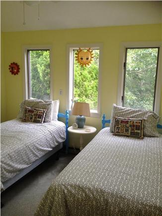 West Tisbury Martha's Vineyard vacation rental - Guest room with two single beds and views of the trees
