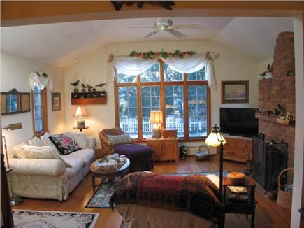 Edgartown Martha's Vineyard vacation rental - South facing living room with ceiling fan and plenty of light.