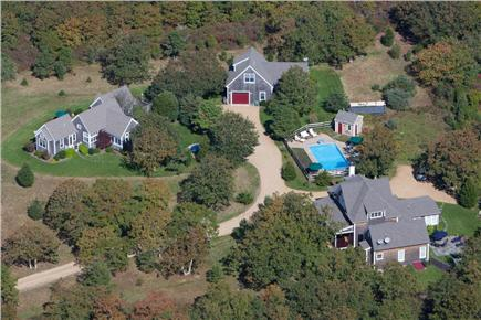Edgartown Martha's Vineyard vacation rental - Aerial view of property  Guest house is in upper left hand corner