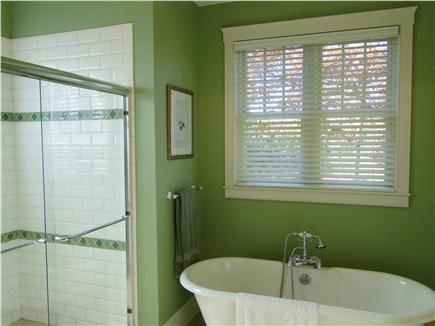 Edgartown Martha's Vineyard vacation rental - Master bath with walk in shower, tub, dual pedestal sinks