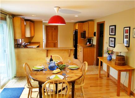West Tisbury Martha's Vineyard vacation rental - Dining for six near newly remodeled kitchen and slider to deck