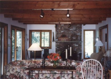 Chilmark Martha's Vineyard vacation rental - Living Room with Fireplace and view of deck