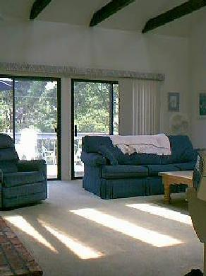 Edgartown Martha's Vineyard vacation rental - Living room: cathedral ceiling &screened sliders