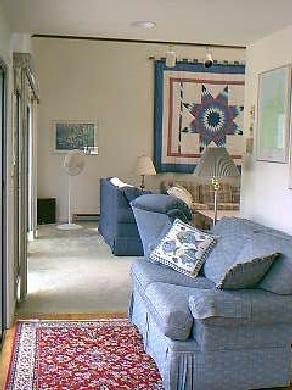 Edgartown Martha's Vineyard vacation rental - Living room: sliding screen doors on left to deck