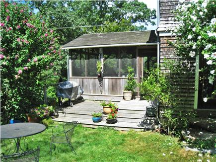 Chilmark Martha's Vineyard vacation rental - Deck off porch with firepit and grill