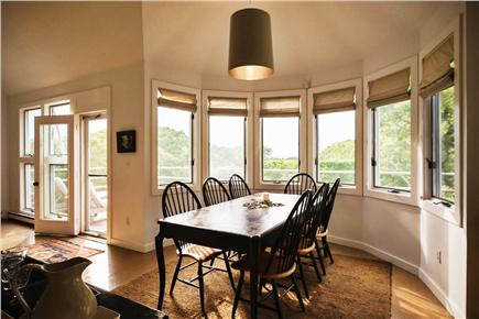 West Tisbury Martha's Vineyard vacation rental - Dining area with views over tree tops to the water