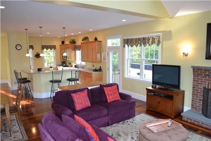 Edgartown/West Tisbury Line Martha's Vineyard vacation rental - Living area view to breakfast bar and kitchen