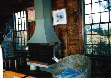 Chilmark Martha's Vineyard vacation rental - Fireplace and rear wall, away from ocean