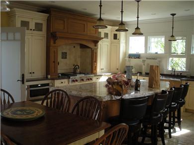 Oak Bluffs Martha's Vineyard vacation rental - Modern kitchen with chef's range and island seating.