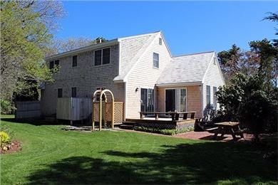 Katama - Edgartown Martha's Vineyard vacation rental - Side view of house toward deck- very private.