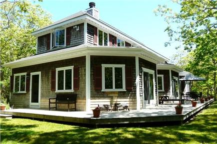 West Tisbury, Long Point Beach Area Martha's Vineyard vacation rental - South facade- deck for relaxing and dining