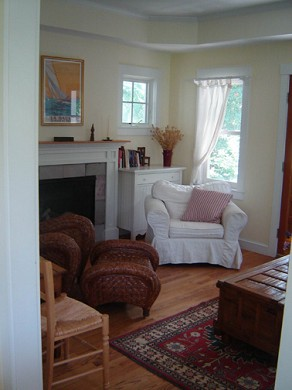 Edgartown Martha's Vineyard vacation rental - A view of the gas fireplace in the Living Room