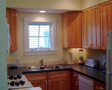 Edgartown Martha's Vineyard vacation rental - A view of the Kitchen with maple cabinetry