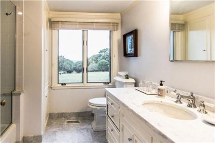 West Tisbury Martha's Vineyard vacation rental - Tub and shower with Carrara marble counter and radiant heat floor