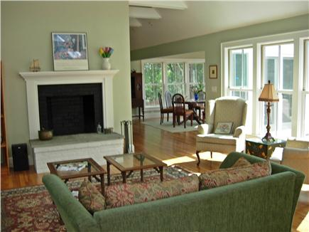 Edgartown Martha's Vineyard vacation rental - Living Room with cathedral ceilng &  fireplace
