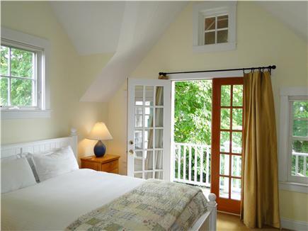 Edgartown Martha's Vineyard vacation rental - Queen master bedroom - vaulted with French doors to back deck