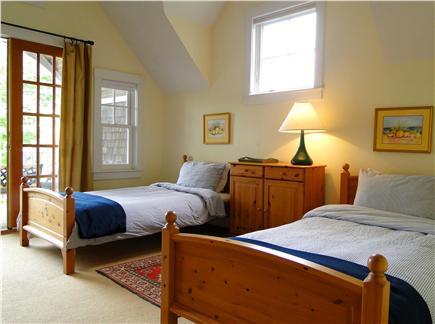 Edgartown Martha's Vineyard vacation rental - Twin bedroom- vaulted with doors to front deck