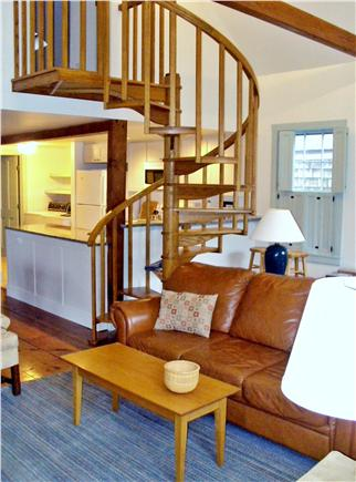 Nantucket town Nantucket vacation rental - Living/kitchen with spiral staircase to second floor.