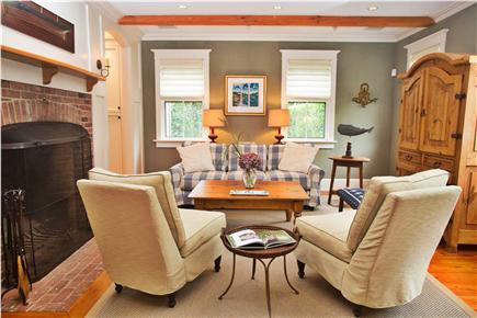 Tom Nevers, Sconset Nantucket vacation rental - Living Rm: flat screen TV, surround sound system, fireplace, AC