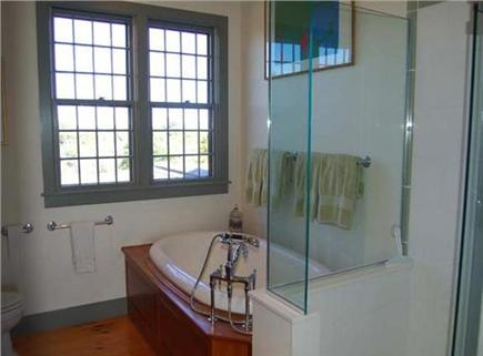 Wauwinet, Polpis Nantucket vacation rental - Master Bath- double vanity, separate shower & cast iron tub for 2