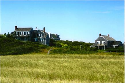 Tom Nevers Nantucket vacation rental - View from beach.  Cottage on right, and main  house