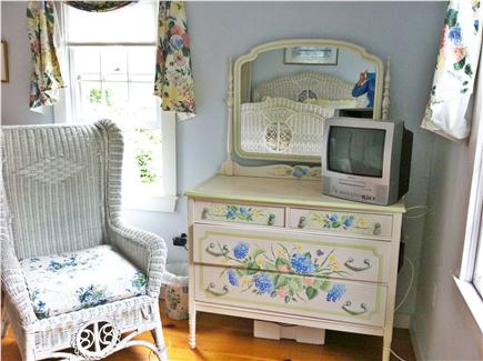 Siasconset Nantucket vacation rental - Master Bedroom with Cable TV and handpainted chest