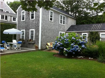 Siasconset Nantucket vacation rental - Wood deck with dining table and gas grill