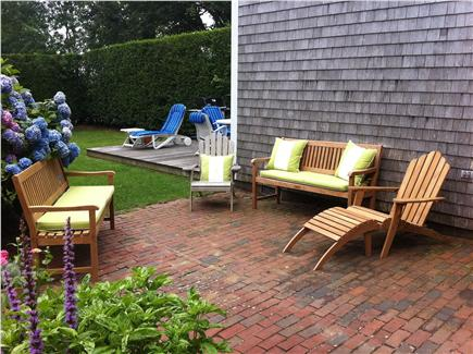 Siasconset Nantucket vacation rental - Picturesque brick patio with teak furniture
