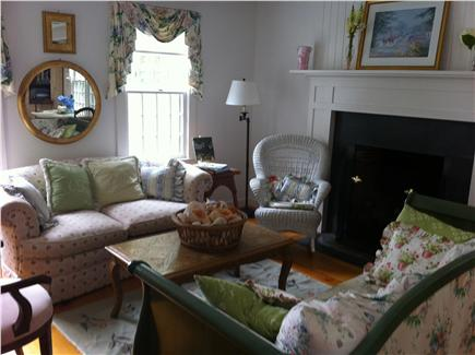 Siasconset Nantucket vacation rental - Living Room and Fireplace