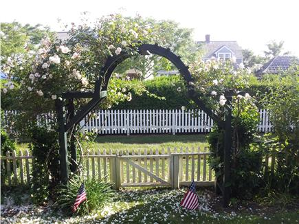 Siasconset, Nantucket Nantucket vacation rental - Front rose-covered gate, opens to grass lane to beach