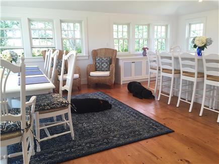 Siasconset Nantucket vacation rental - Dining room with seating area and windows on three sides